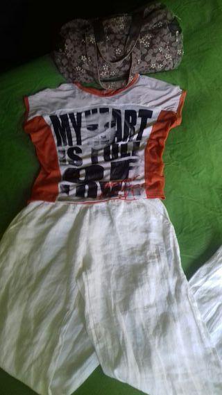Niki 34/36 y pantalon blanco lino 38 3 prendas ×2
