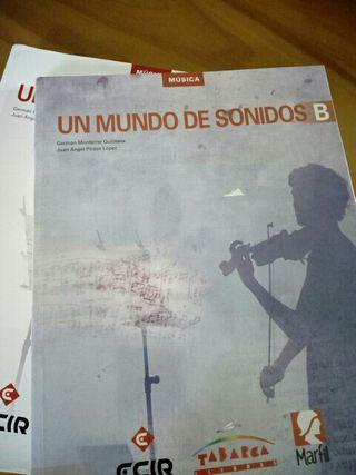 libro con cd y cuaderno de musica, 1 ESO.