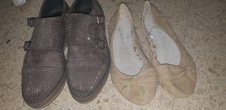 2 pares manoletinas beige 39 zapatos marrones