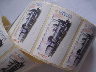 tira sellos sello adhesivo etiqueta tren trenes