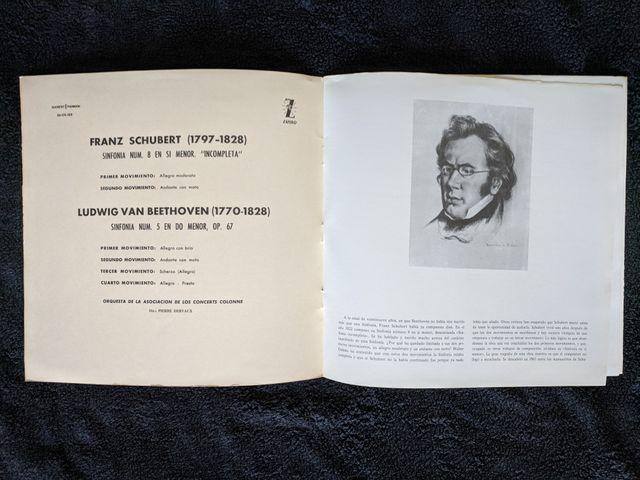 """Disco de vinilo """"Sinfonias Schubert y Beethoven"""""""