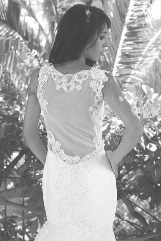 Bonito Vestido de novia hecho a mano talla S NUEVO