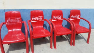 coca cola sillas terraza lote de 4