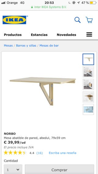 Mesa plegable pared ikea norbo
