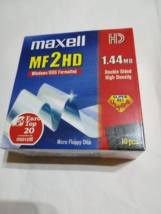 Caja de 10 disquetes Maxell Mf2hd 1.44Mb.
