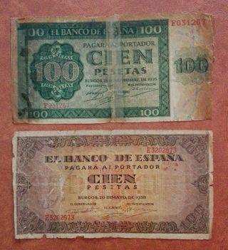 2 billetes antiguos de España