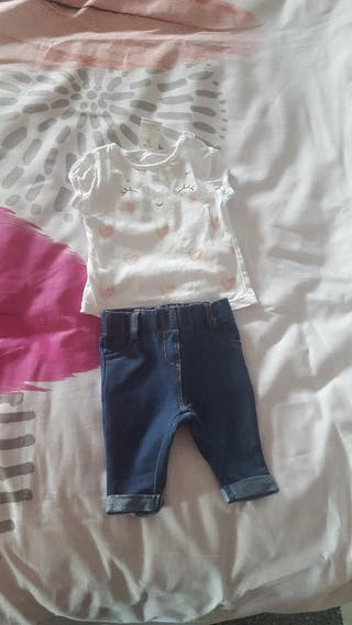 Conjunto bebé vaquero y camiseta
