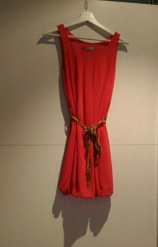 vestido rosa con cinturón, como nuevo