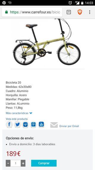 bicicleta plegable de 20 pulgadas nueva