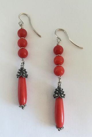 Pendientes Vintage plata y coral rojo natural.