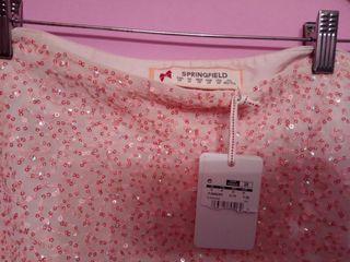 Falda rosa Springfield nueva lentejuelas