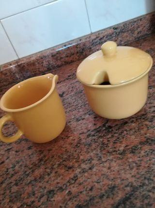 Juego cerámica varias piezas azul amarillo