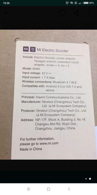 patinete eléctrico xiaomi m365
