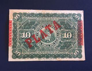 Billete 10 Pesos 1896 - PLATA /BANCO ESPAÑOL CUBA