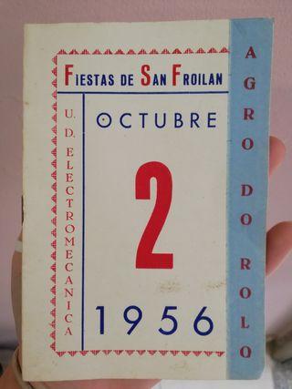 Programa de fiestas San Froilán 1956 - Lugo