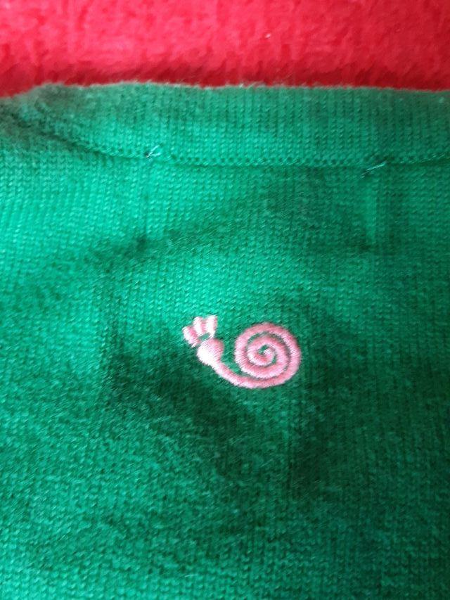 Chaqueta verde y botones rosas 4 años Trasluz