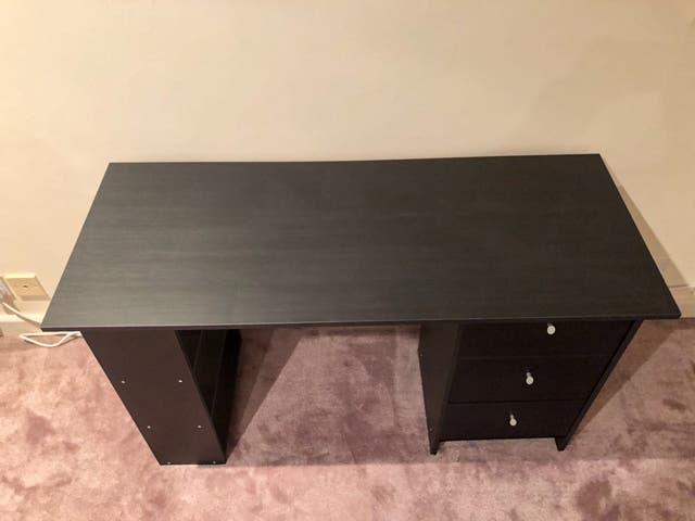 Desk - black, wooden - nearly new!