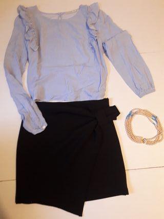 Lote 10: Blusa + Falda + Collar