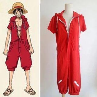 Traje de Luffy ,Mono completo Rojo. P