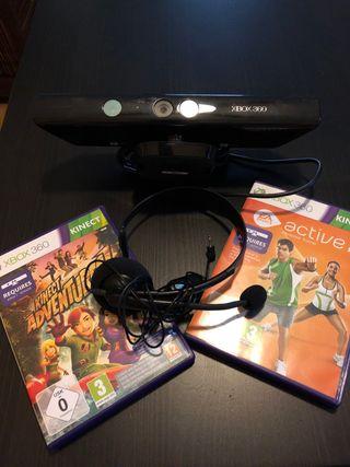 Kinect Xbox 360 y dos juegos