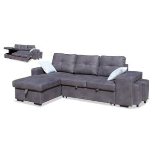 Sofa cama con Chaise longue color Gris con pufs