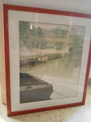 cuadro lámina muelle de Amsterdam