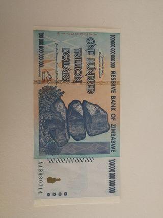 billete 100 trillones Zimbabwe