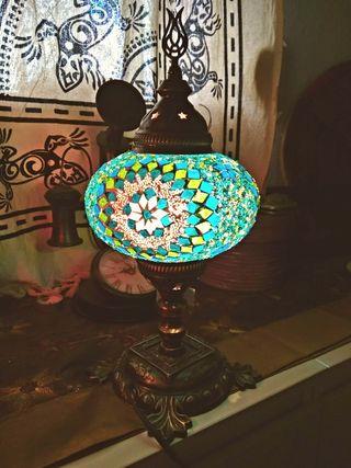 LAMPARA TURCA COLORES CRISTAL