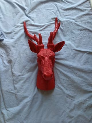 Red cast deer decoration