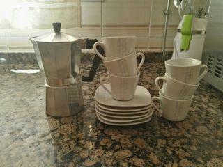 juego tazas cafe + cafetera convencional
