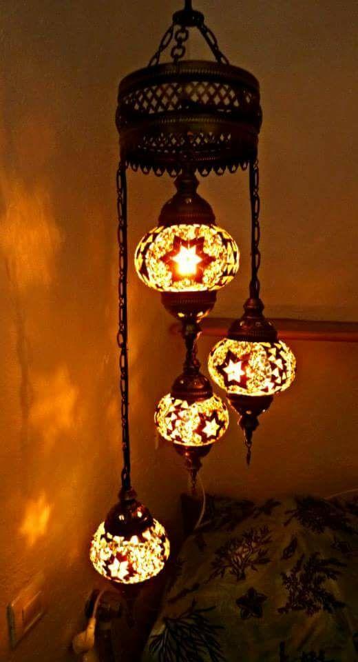 LAMPARA TURCA DE TECHO GRANDE CRISTAL
