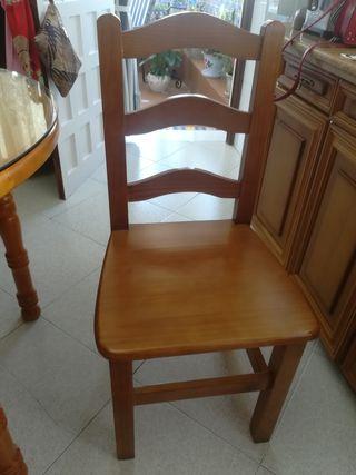 Conjunto mesa, cristal y dos sillas
