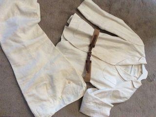Traje pantalón beige ...