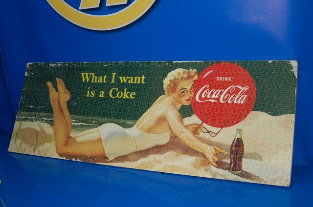 Cartel Coca-cola PUZZLE decoracion 97 cm x 34 cm.
