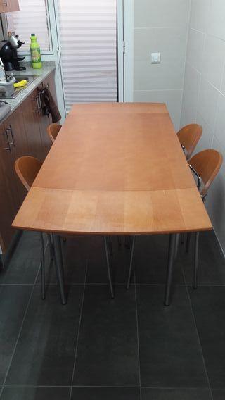 Mesa extensible cocina con 4 sillas