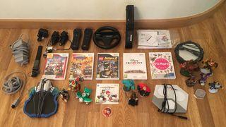 Wii+6juegos+2mandos+volante+3 plataformas+figuras