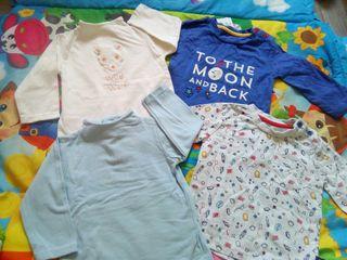 lote 4 camisetas NUEVAS bebé 3 a 6 meses
