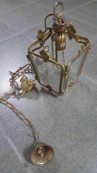 Juego de 2 lamparas de bronce y cristal