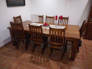 mesa madera maciza +10 sillas macizas gran calidad