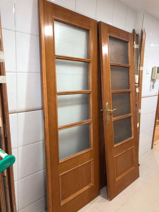 Puertas de madera con y sin cristal de segunda mano por 40 en valencia en wallapop - Puertas correderas madera y cristal ...