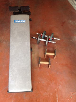 Banco abdominales o pesas + mancuernas