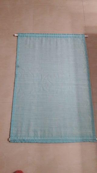 cortina turquesa sin uso 93x62