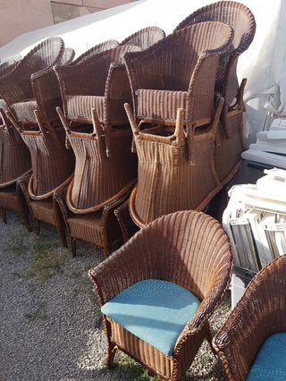 sillas de mimbre con cojin