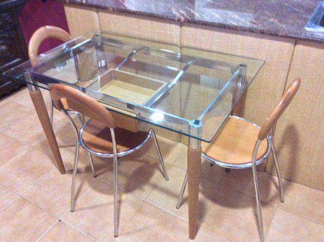 Mesa de madera y cristal para comedor o escritorio de segunda mano ...