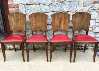 4 sillas Art Deco francés