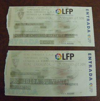 Dos entradas Real Zaragoza VS Sporting Gijón 2003 segunda mano  España