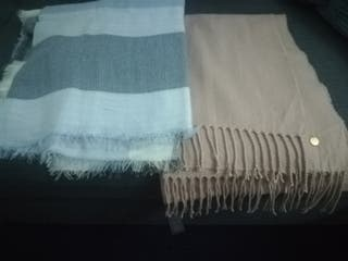 Woven scarf - light pink and blue