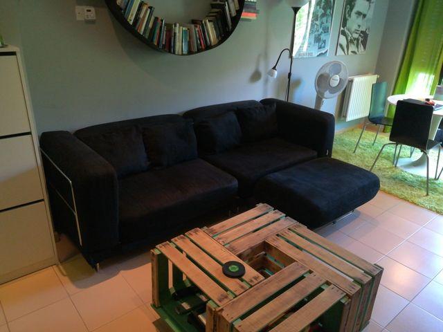 Sofa cama ikea negro chaise longue de segunda mano por 250 for Ikea sofa chaise longue cama