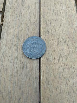 moneda antigua Isabel II 1861 25 centimos de real
