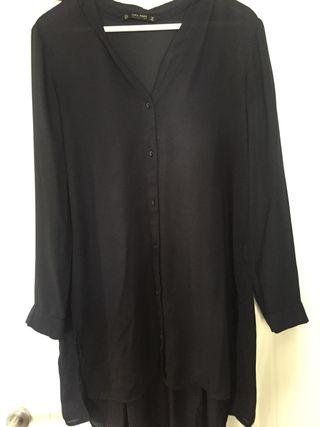 ZARA. Camisa/vestido azul marino talla S